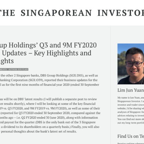 DBS Group Holdings' Q3 and 9M FY2020 Business Updates – Key Highlights and My Thoughts