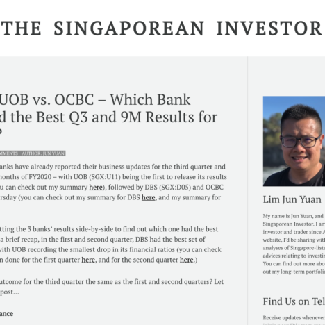 DBS vs. UOB vs. OCBC - Which Bank Reported the Best Q3 and 9M Results for FY2020?
