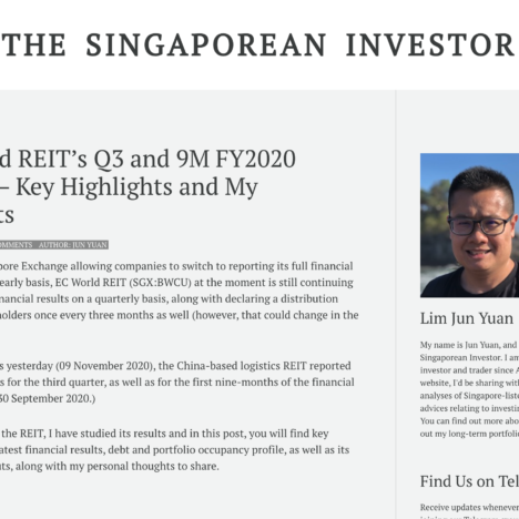 EC World REIT's Q3 and 9M FY2020 Results – Key Highlights and My Thoughts