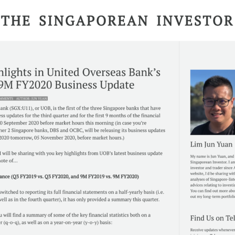 Key Highlights in United Overseas Bank's Q3 and 9M FY2020 Business Update