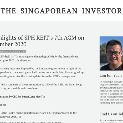 Key Highlights of SPH REIT's 7th AGM on 26 November 2020