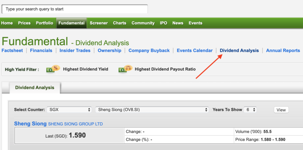 You can learn about a company's dividend payouts by going to the 'Dividend Analysis' section.