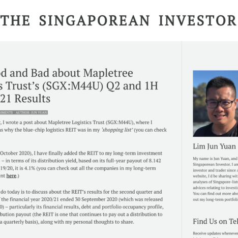 The Good and Bad about Mapletree Logistics Trust's (SGX:M44U) Q2 and 1H FY2020/21 Results