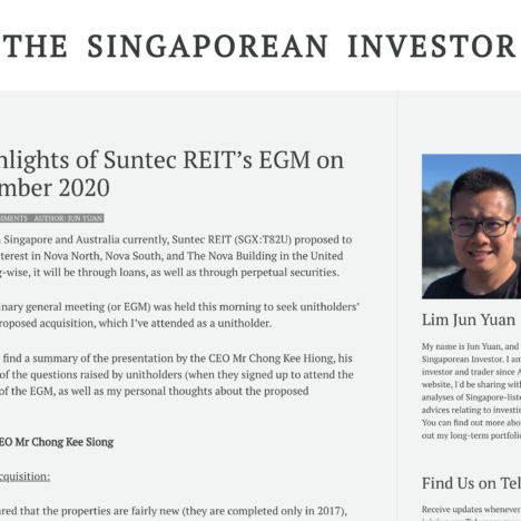 Key Highlights of Suntec REIT's EGM on 04 December 2020