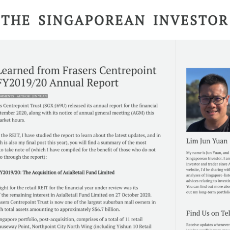 What I Learned from Frasers Centrepoint Trust's FY2019/20 Annual Report