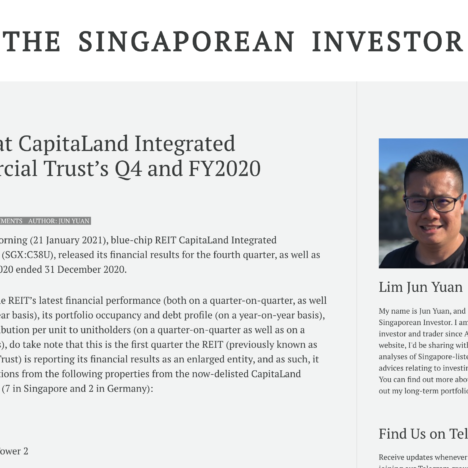 A Look at CapitaLand Integrated Commercial Trust's Q4 and FY2020 Results