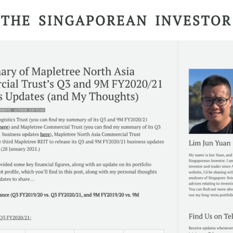 A Summary of Mapletree North Asia Commercial Trust's Q3 and 9M FY2020/21 Business Updates (and My Thoughts)