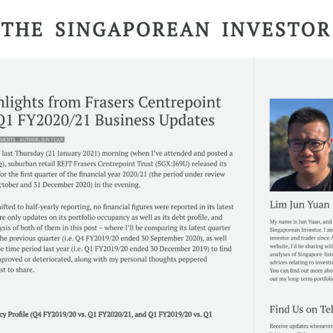 Key Highlights from Frasers Centrepoint Trust's Q1 FY2020/21 Business Updates