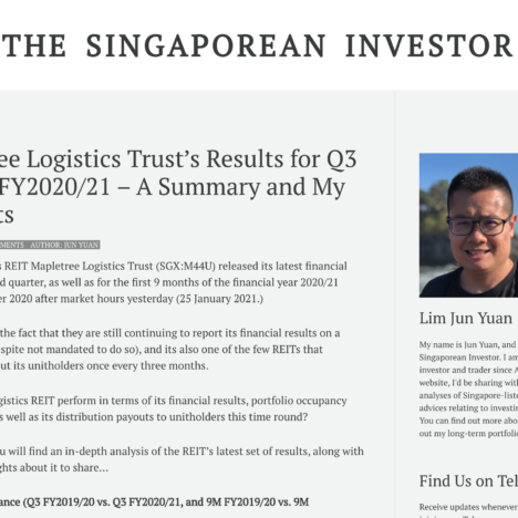 Mapletree Logistics Trust's Results for Q3 and 9M FY2020/21 – A Summary and My Thoughts