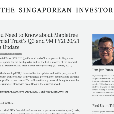 What You Need to Know about Mapletree Commercial Trust's Q3 and 9M FY2020/21 Business Update