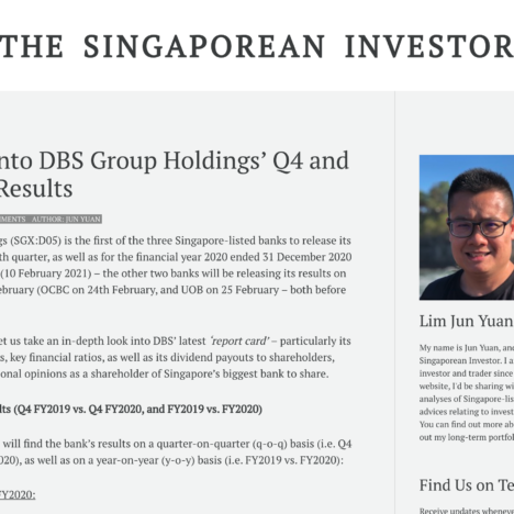 A Look into DBS Group Holdings' Q4 and FY2020 Results