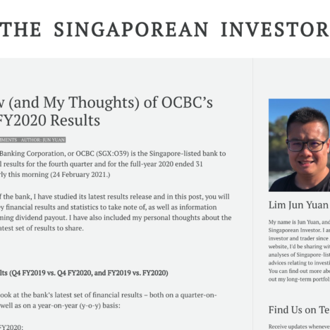 A Review (and My Thoughts) of OCBC's Q4 and FY2020 Results