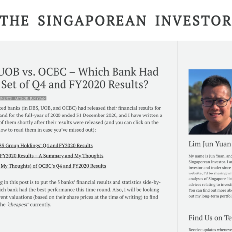 DBS vs. UOB vs. OCBC – Which Bank Had the Best Set of Q4 and FY2020 Results?