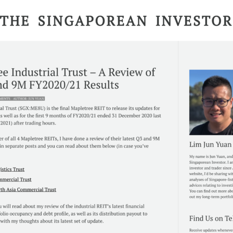 Mapletree Industrial Trust – A Review of its Q3 and 9M FY2020/21 Results