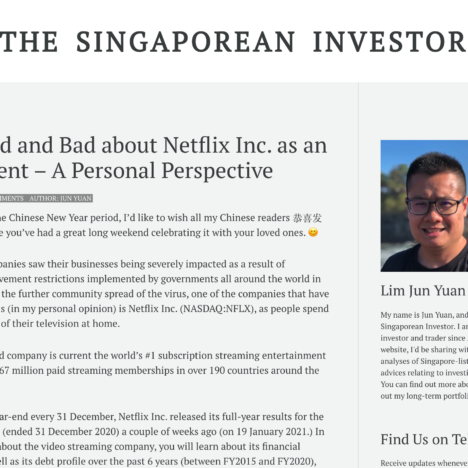 The Good and Bad about Netflix Inc. as an Investment – A Personal Perspective