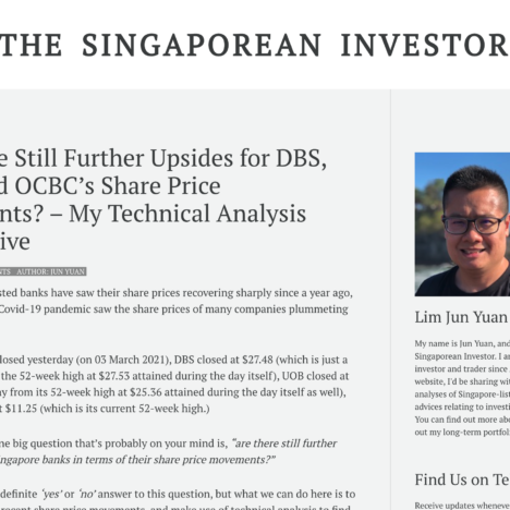 Are there Still Further Upsides for DBS, UOB, and OCBC's Share Price Movements? – My Technical Analysis Perspective