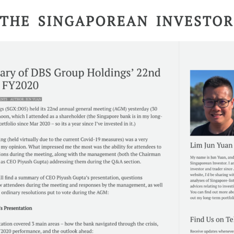 A Summary of DBS Group Holdings' 22nd AGM for FY2020