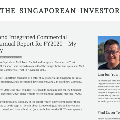 CapitaLand Integrated Commercial Trust's Annual Report for FY2020 – My Summary