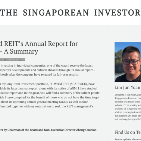 EC World REIT's Annual Report for FY2020 – A Summary