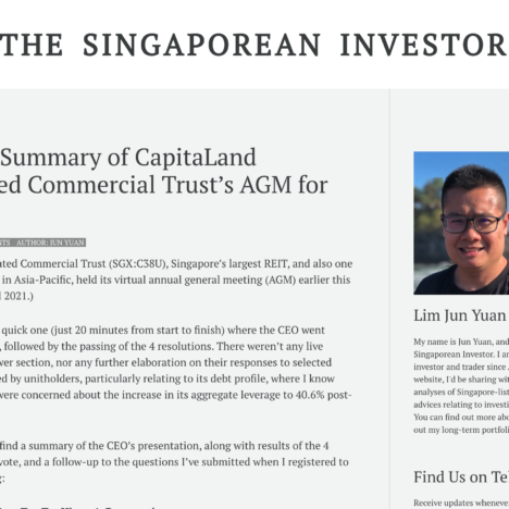 A Quick Summary of CapitaLand Integrated Commercial Trust's AGM for FY2020