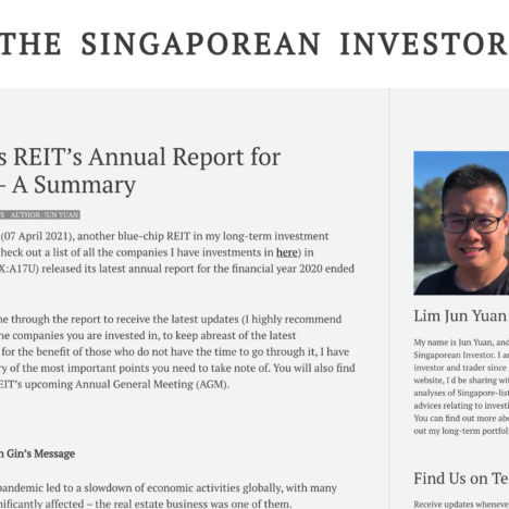 Ascendas REIT's Annual Report for FY2020 – A Summary