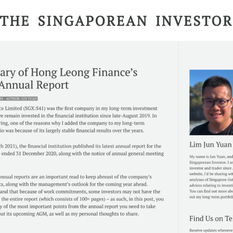 A Summary of Hong Leong Finance's FY2020 Annual Report
