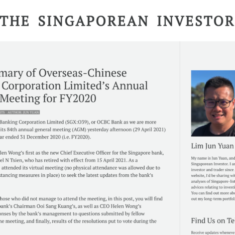 My Summary of Overseas-Chinese Banking Corporation Limited's Annual General Meeting for FY2020