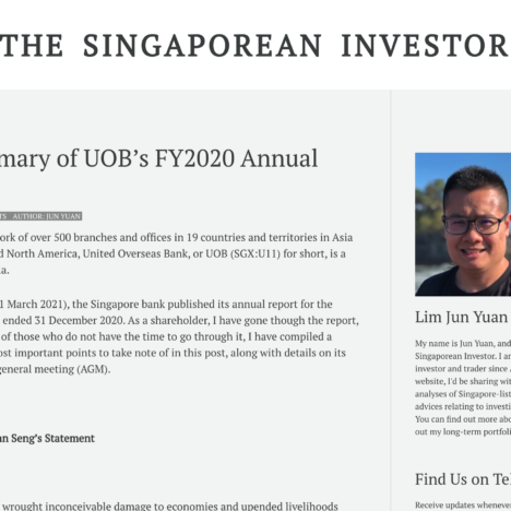 My Summary of UOB's FY2020 Annual Report