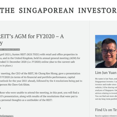 Suntec REIT's AGM for FY2020 – A Summary