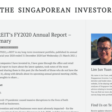 Suntec REIT's FY2020 Annual Report – My Summary