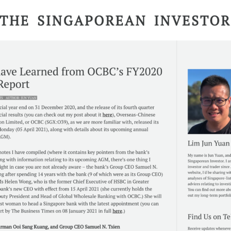What I have Learned from OCBC's FY2020 Annual Report