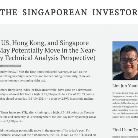 How the US, Hong Kong, and Singapore Market May Potentially Move in the Near-Term (My Technical Analysis Perspective)